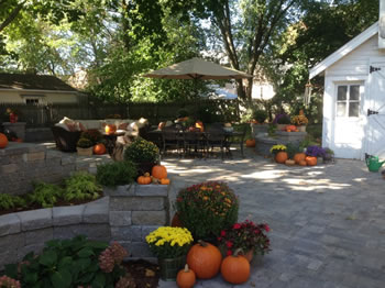 The backyard after the client added some decoration like pumpkins and umbrellas etc.