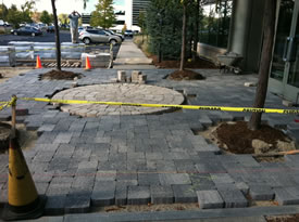 Installed Paver Stone with Circle Pattern